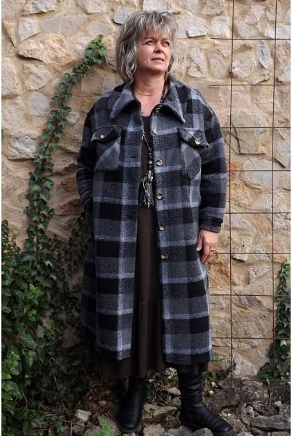 Manteau lainage à carreaux gris Simon
