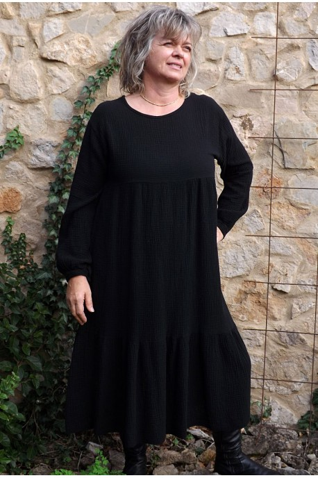 Robe en seersucker Angélique noire