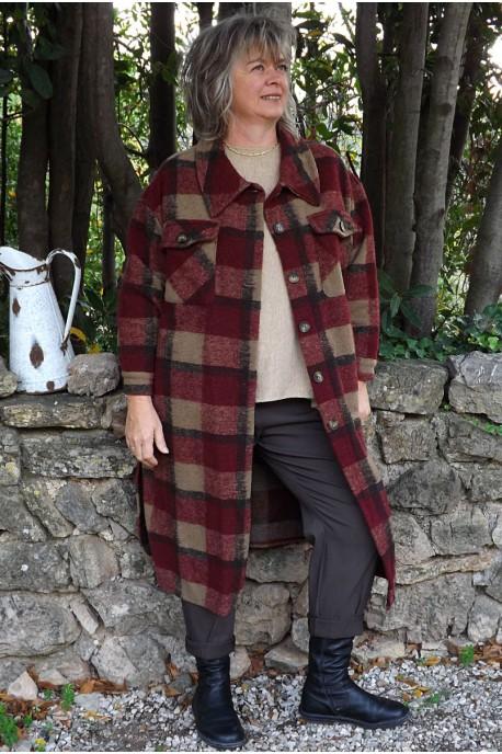 Manteau lainage à carreaux bordeaux Simon