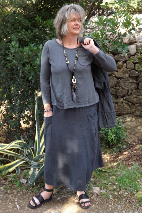 Top coton Tom anthracite et jupe lin Amalie