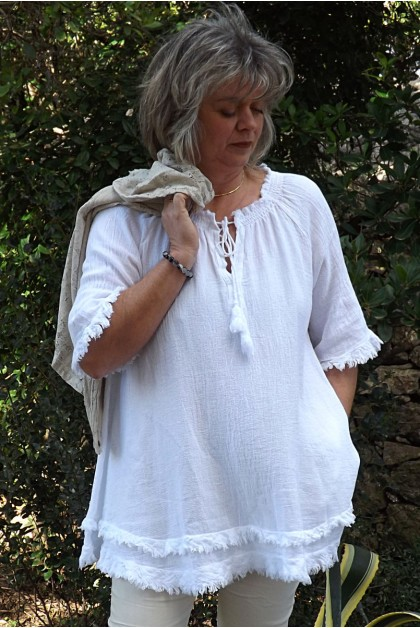 Tunique lin et coton Faustine blanche
