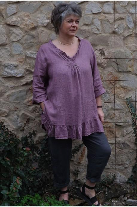 Tunique lin grande taille pourpre Mélanie et pantalon lin Gabriel.