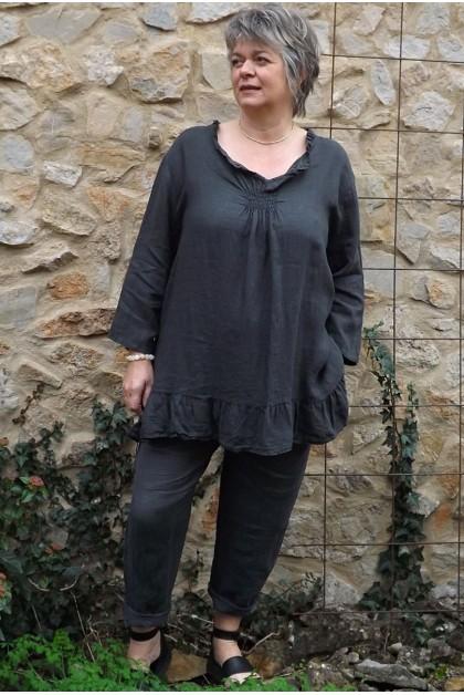 Tunique lin grande taille Mélanie anthracite