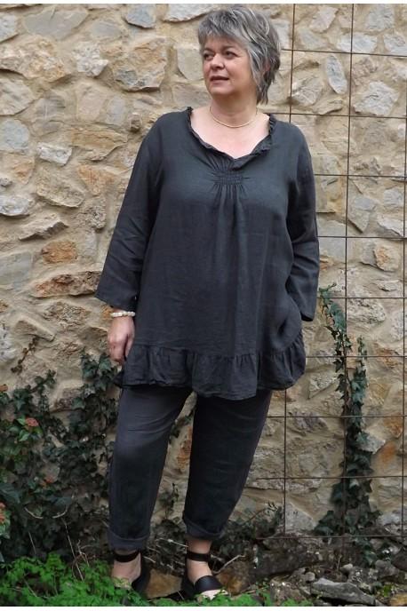 Tunique lin grande taille Mélanie anthracite et pantalon lin Gabriel