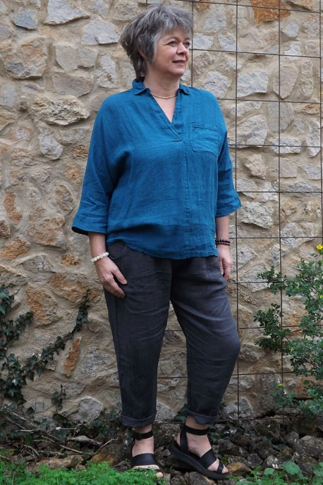 Liquette lin bleu canard Maelis et pantalon en lin Gabriel