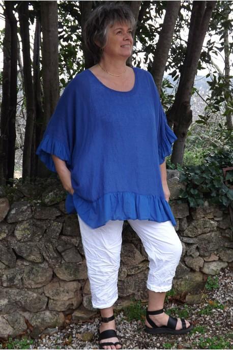 Tunique maille de lin grande taille bleu roi Lucine et pantalon Tim