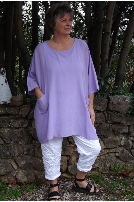 Tunique coton grande taille Elena lilas et pantalon Tim