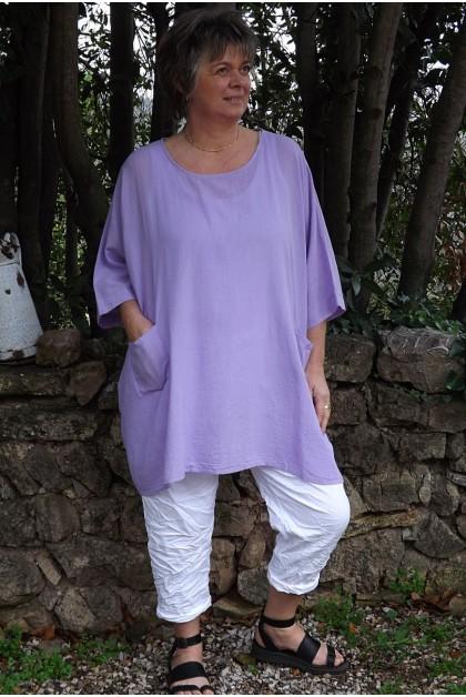 Tunique coton grande taille Elena lilas