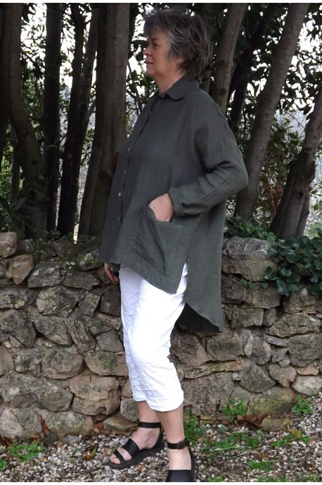 Liquette lin grande taille kaki et pantalon Timline