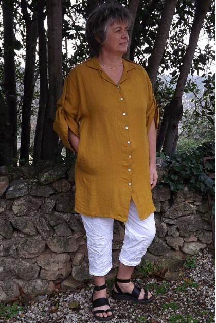 Liquette longue en lin safran et pantalon TimLisa