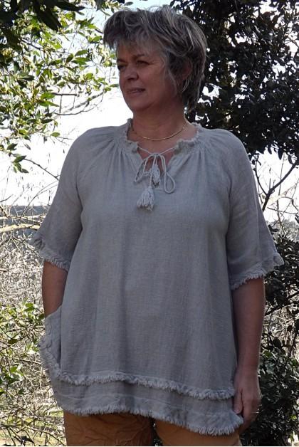 Tunique lin et coton Faustine beige