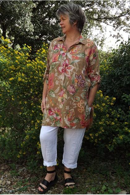 Liquette lin imprimé fleurs havane Cybelle et pantalon lin Gabriel