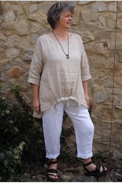 Tunique lin grande taille beige Elia et pantalon en lin Gabriel