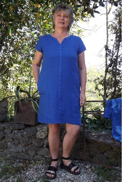 Robe lin bleu roi Alice