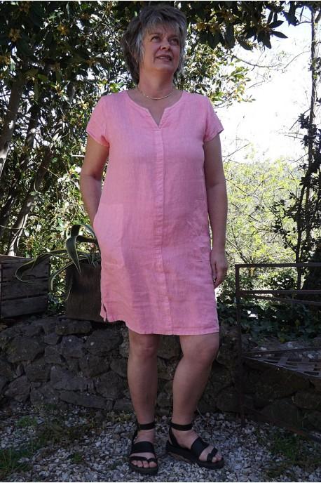 Robe lin rose Alice