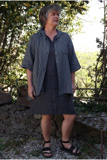 Chemise lin rayée anthracite Bastiane