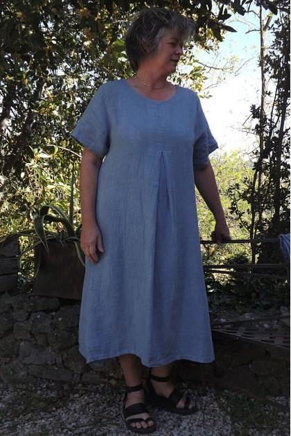 Robe longue lin bleue Philomène