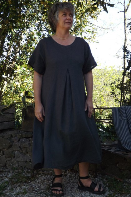 Robe longue lin anthracite Philomène