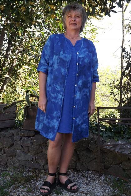 Veste ou chemise en lin bleu Antéa