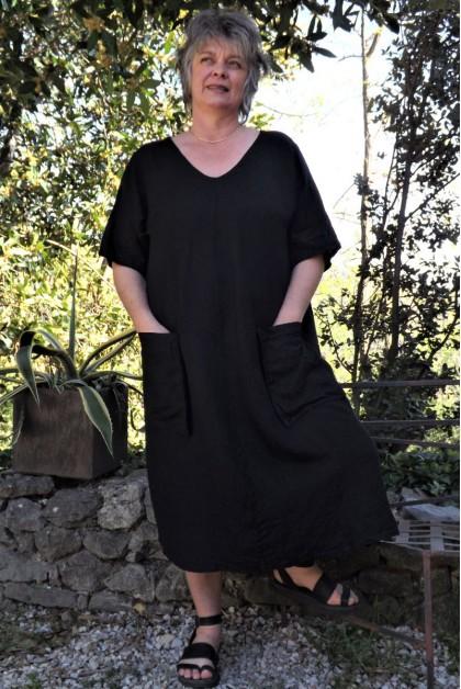 Robe longue lin grande taille noire Luce
