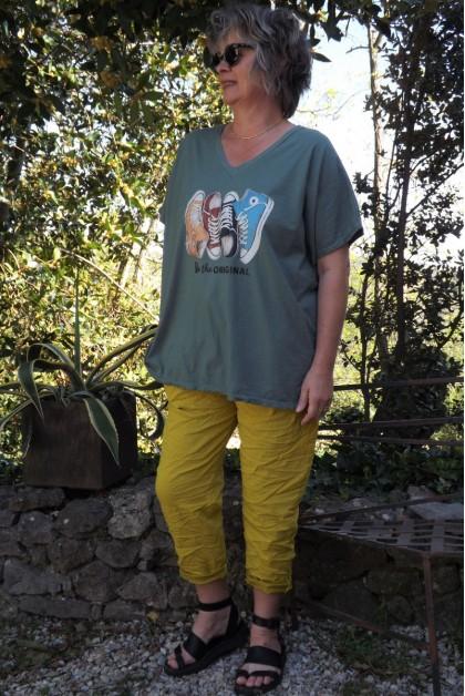 T-Shirt imprimé basket kaki