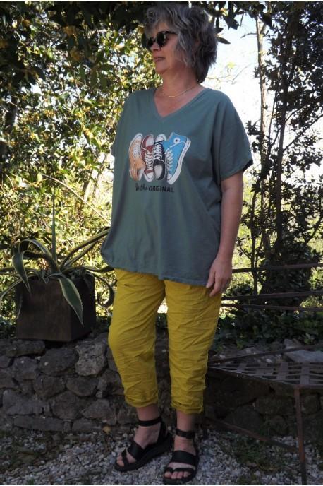 T-Shirt imprimé basket kaki et pantalon Tim