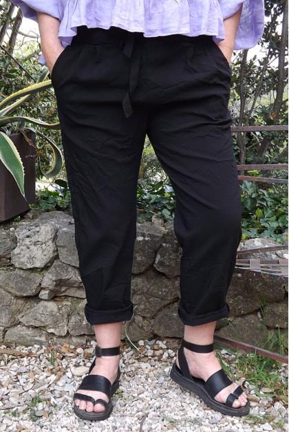 Pantalon grande taille noir Tim et top lin Celestin