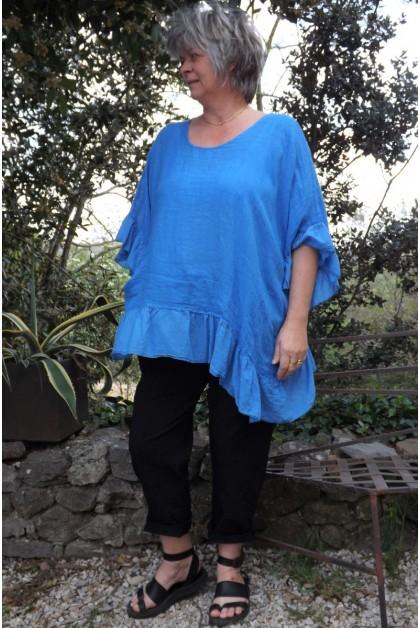Tunique maille de lin grande taille bleu oasis Lucine