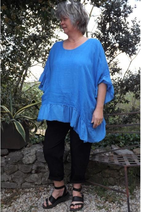 Tunique maille de lin grande taille bleu oasis Lucine et pantalon Tim.
