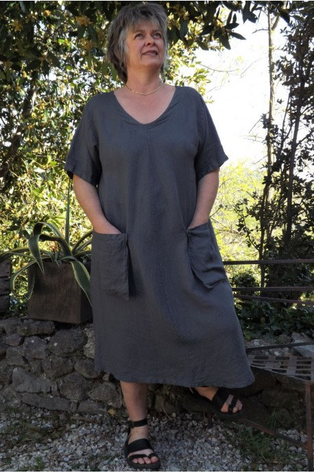 Robe longue lin grande taille anthracite Luce