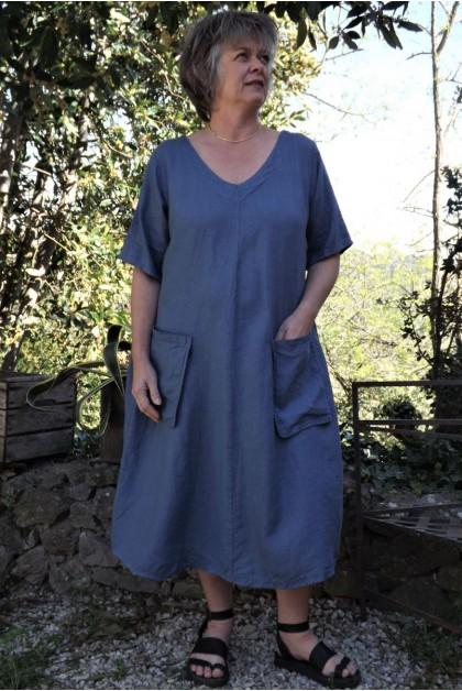 Robe longue lin grande taille bleu jean Luce