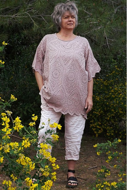 Tunique broderie anglaise rose poudré Ines
