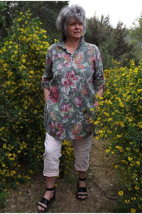 Liquette lin imprimé fleurs kaki Cybelle