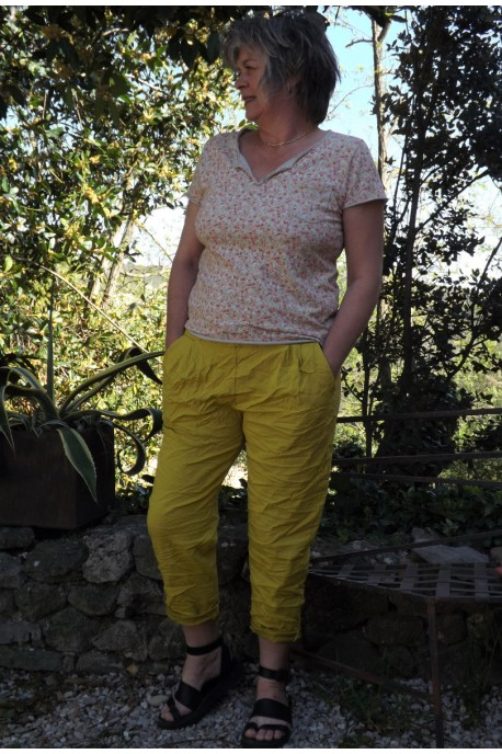 T-Shirt imprimé fleurs Eden fond beige