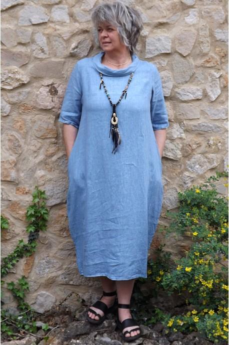 Robe longue en lin Apolline bleue
