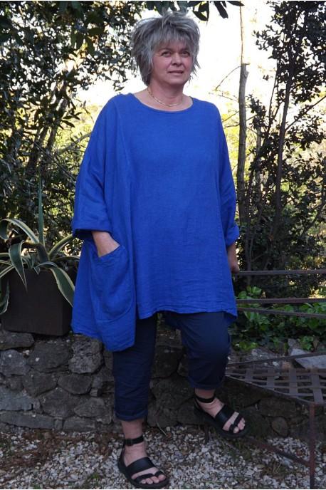 Tunique lin grande taille Paulette et pantalon Tim marine. bleu roi