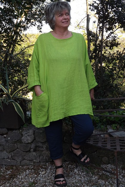 Tunique lin grande taille Paulette et pantalon Tim marine vert anisé