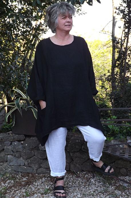 Tunique lin grande taille Paulette noire et pantalon lin Gabriel.