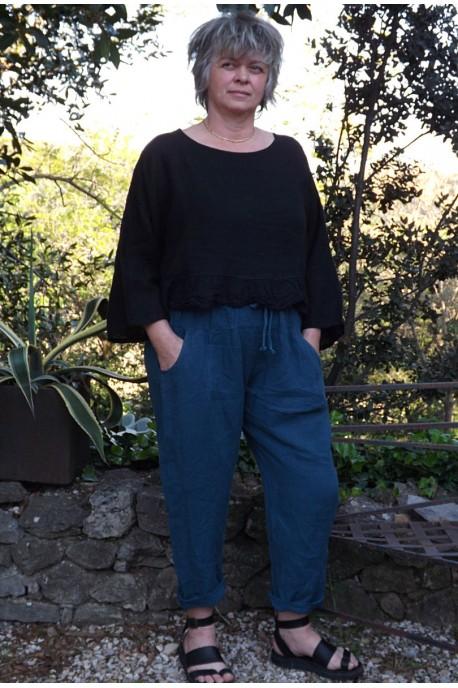 Top lin Celestin noir et pantalon lin Gabriel