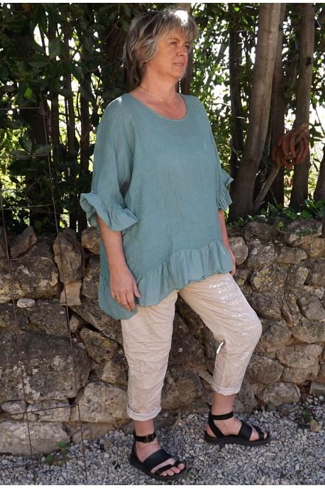 Tunique maille de lin grande taille Lucine agave et pantalon Tim imprimé