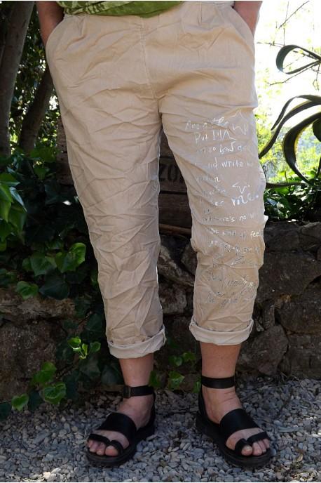 Pantalon grande taille Tim beige imprimé