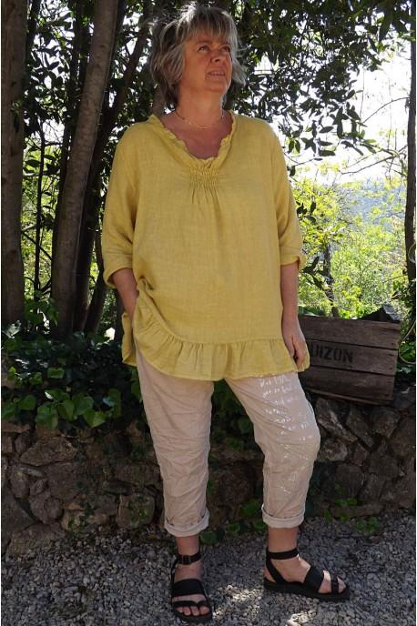 Tunique lin grande taille Mélanie paille délavée et pantalon Tim