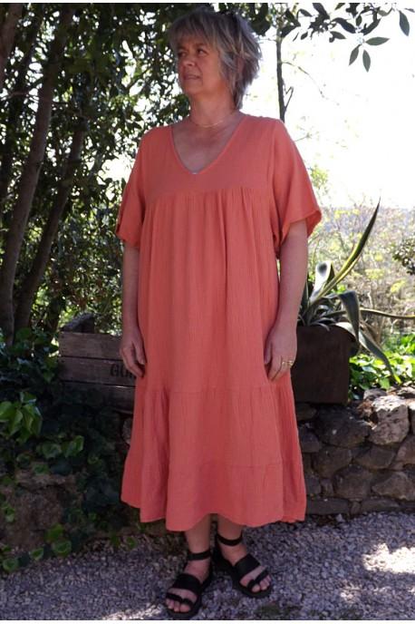 Robe coton gaufré grande taille Anastasia goyave