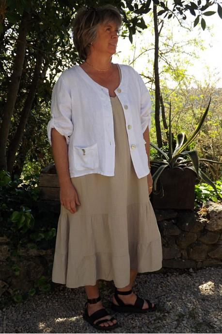Veste en lin Colette Blanche et robe Anastasia coton gaufré