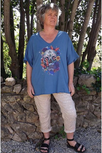 T-Shirt coton Max bleu imprimé