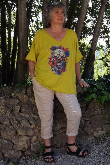 T-Shirt coton Max jaune carracci imprimé