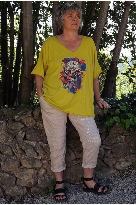 T-Shirt coton Max jaune carracci imprimé et pantalon Tim