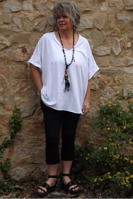 T-Shirt grande taille Gaston blanc et pantalon Alix
