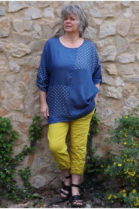 Tunique en Tencel Gladis jean foncé et pantalon Tim