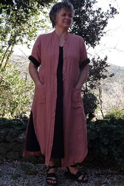 Veste longue en lin Aloïs goyave